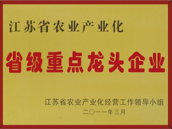 江苏省级重点龙头企业证书